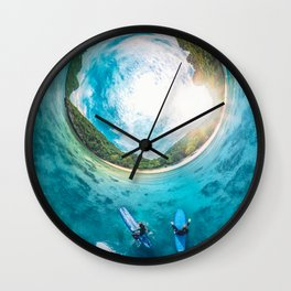 Surfing in the Summer, with the Sea All Around Us Wall Clock