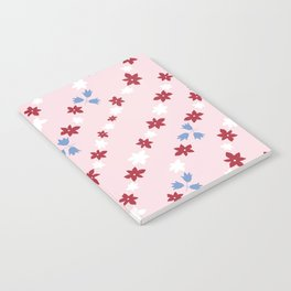 Red white and blue floral Notebook