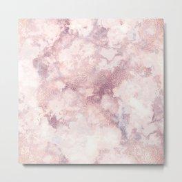 Elegant rose faux gold pink gray luxury marble pattern Metal Print