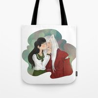 inuyasha Tote Bags featuring What a surprise! by Madoso
