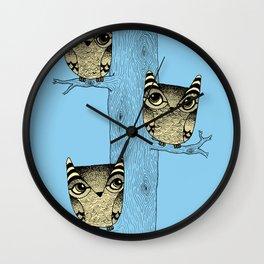 Owls (blue) Wall Clock