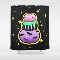 pastel goth Shower Curtains featuring Pastel Goth Pumpkin Stack by MagicCircle