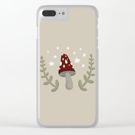Mushroom Illustration Clear iPhone Case