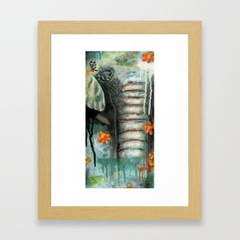 Asian Elephant - Panel Two of Endangered Species of Asia Triptych Framed Art Print