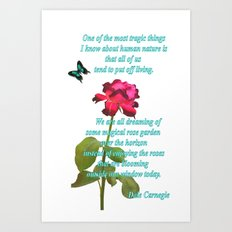 Magenta Red Rose with Butterfly and Quote Art Print