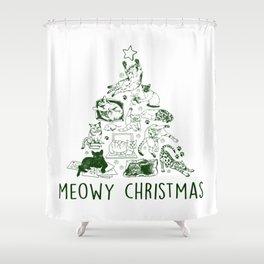 Meowy Christmas Cat Tree Shower Curtain