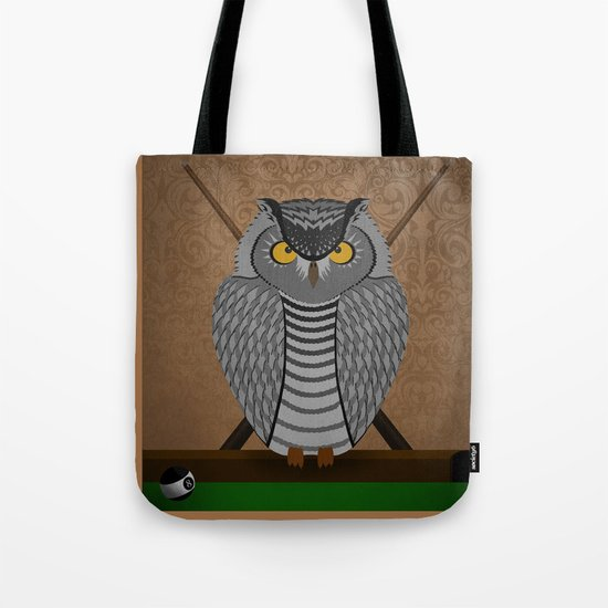 owl playing billiards Tote Bag