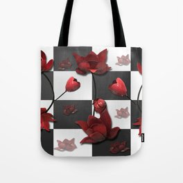 Burnt Crimson Flora Tote Bag