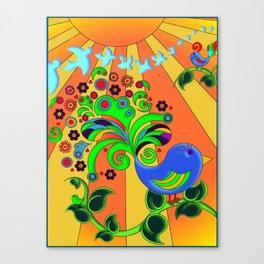 Bright Psychedelic Bird, Retro Style Canvas Print