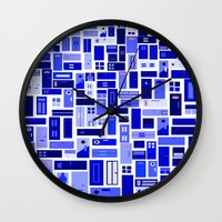 doors Wall Clocks featuring Doors - Blues by Finlay McNevin