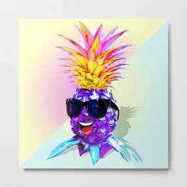Pineapple Ultraviolet Happy Dude with Sunglasses Metal Print