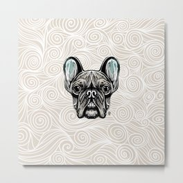 French Bulldog Smilling Metal Print
