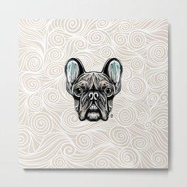 French Bulldog Smilling Metal Print
