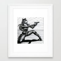 catwoman Framed Art Prints featuring Catwoman  by Elizabeth A