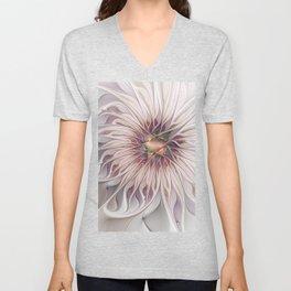 Flourish 2, Abstract Fractals Art Unisex V-Neck