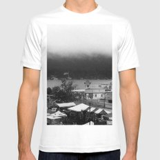 As The Fog Rolls In White Mens Fitted Tee MEDIUM