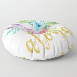 Hawaiian multicolored floral bouquet with faux gold aloha brush script Floor Pillow