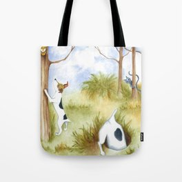 Busy Dogs Original art dog painting with cat and owl  Tote Bag