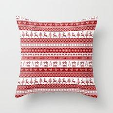 Nordic fair isle Christmas pattern Throw Pillow