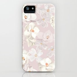 White Floral on Pale Pink iPhone Case