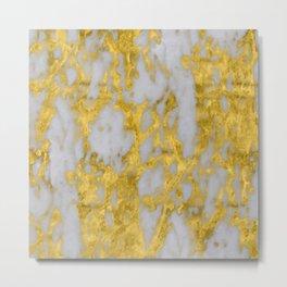 Luxury 24-Karat Gold Marble on Velvet Cream Metal Print