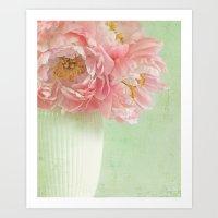 peonies Art Prints featuring Peonies by Lizzy Pe