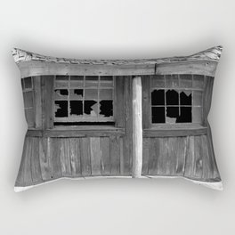 Isolated black and white photograph of abandoned old west saloon dance hall motel in Texas Rectangular Pillow