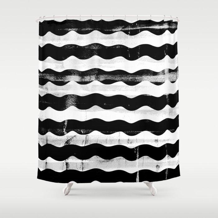 Black Waves Shower Curtain