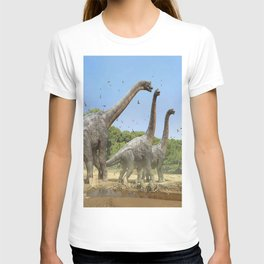Dinosaurs walking on the river T-shirt