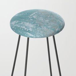 Galvanized Vintage Metal Blue Counter Stool