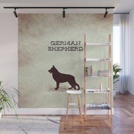 Retro German Shepherd Distressed Paper Wall Mural