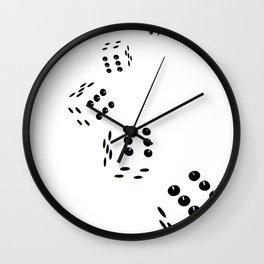 Tumbling Dice Chain White Wall Clock