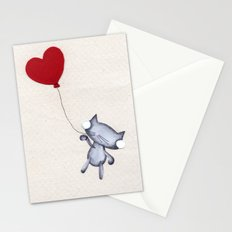 Zombie Kitty Flies Away On Valentines Day Stationery Cards