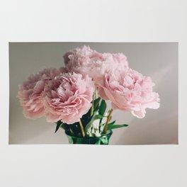 Pink Peonies on White Rug