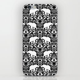 Elephant Damask Black and White iPhone Skin