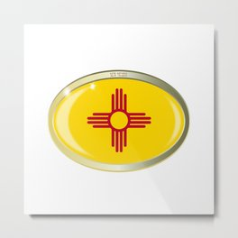 New Mexico State Flag Oval Button Metal Print