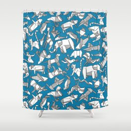 origami animal ditsy blue Shower Curtain