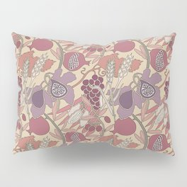 Seven Species Botanical Fruit and Grain in Mauve Tones Pillow Sham