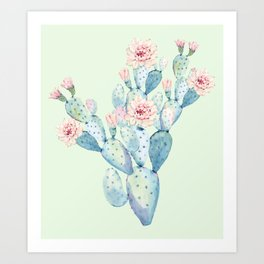 Rose Desert Cactus Mint Green + Pink by Nature Magick Art Print