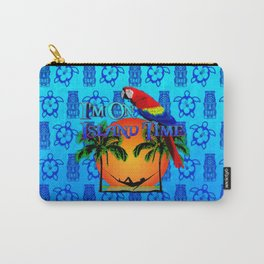 Blue Tikis Island Time And Parrot Carry-All Pouch