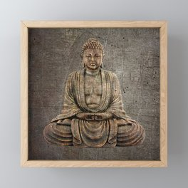 Sitting Buddha On Distressed Metal Background Framed Mini Art Print