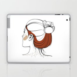 Red-haired woman with freckles. View from the back. Abstract face. Fashion illustration Laptop & iPad Skin