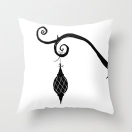 Burtonesque Branch with Ornament 3 / Black on White Throw Pillow