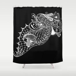 Black Tie Peacock Shower Curtain