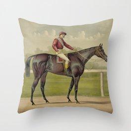 Grand Racer Kingston - Vintage Horse Racing Throw Pillow