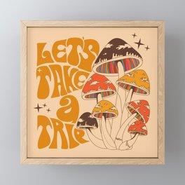 70s Mushroom, Take A Trip, Hippie Boho Framed Mini Art Print