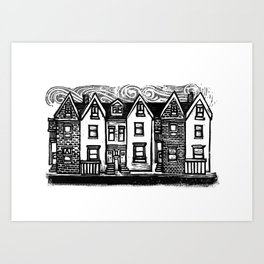 Row Houses - Linocut Art Print