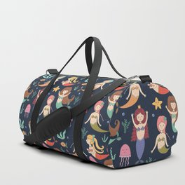 Hand drawn navy blue teal yellow mermaids illustration Duffle Bag