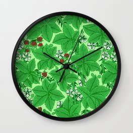 Art Nouveau Strawberries and Leaves, Light Jade Green Wall Clock