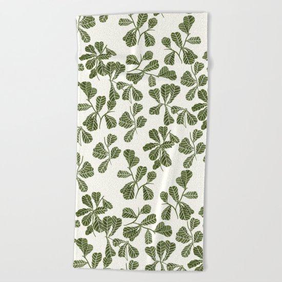 Fig Leaf Pattern Beach Towel